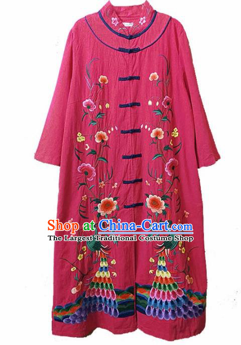 Traditional Chinese Embroidered Peacock Peony Rosy Coat Tang Suit Outer Garment National Costume for Women