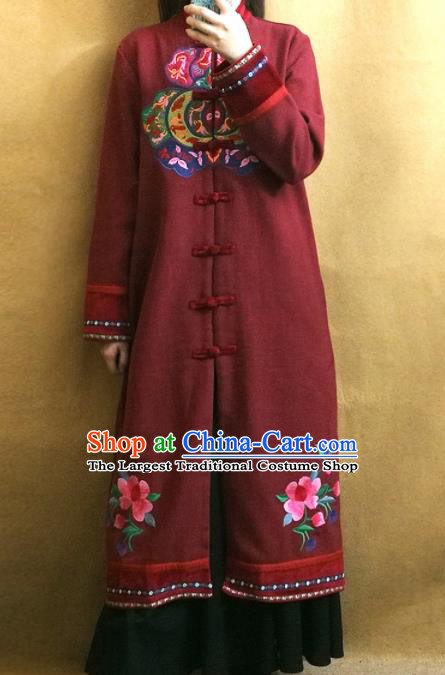 Traditional Chinese Embroidered Dark Red Coat Tang Suit Outer Garment National Costume for Women