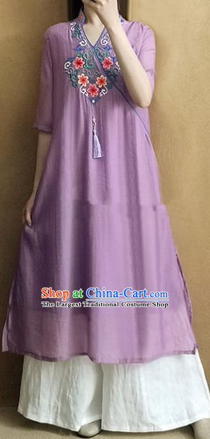 Traditional Chinese National Costume Tang Suit Embroidered Purple Qipao Dress for Women