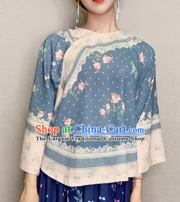 Traditional Chinese Tang Suit Slant Opening Blue Blouse Upper Outer Garment National Costume for Women
