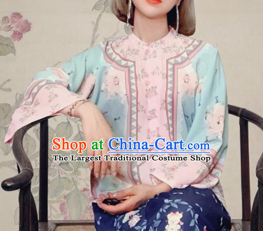 Traditional Chinese Tang Suit Slant Opening Green Blouse Upper Outer Garment National Costume for Women