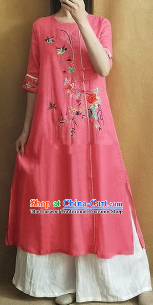 Traditional Chinese Embroidered Peony Pink Cheongsam Qipao Dress Tang Suit National Costume for Women