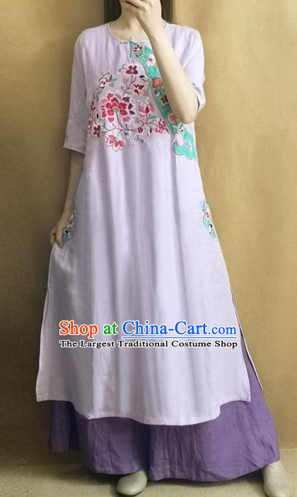 Traditional Chinese Embroidered Peony Lilac Cheongsam Qipao Dress Tang Suit National Costume for Women
