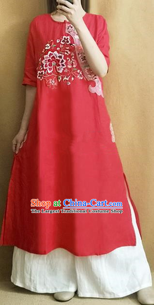 Traditional Chinese Embroidered Lotus Red Cheongsam Qipao Dress Tang Suit National Costume for Women