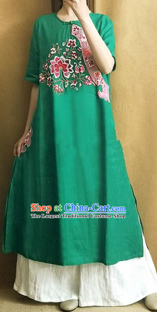 Traditional Chinese Embroidered Lotus Green Cheongsam Qipao Dress Tang Suit National Costume for Women