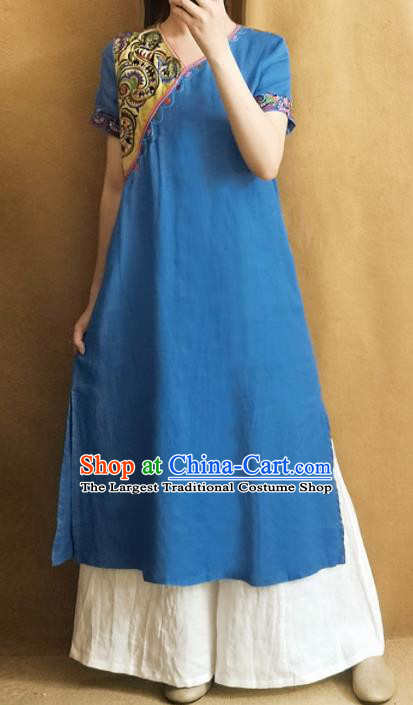 Traditional Chinese Embroidered Blue Cheongsam Qipao Dress Tang Suit National Costume for Women
