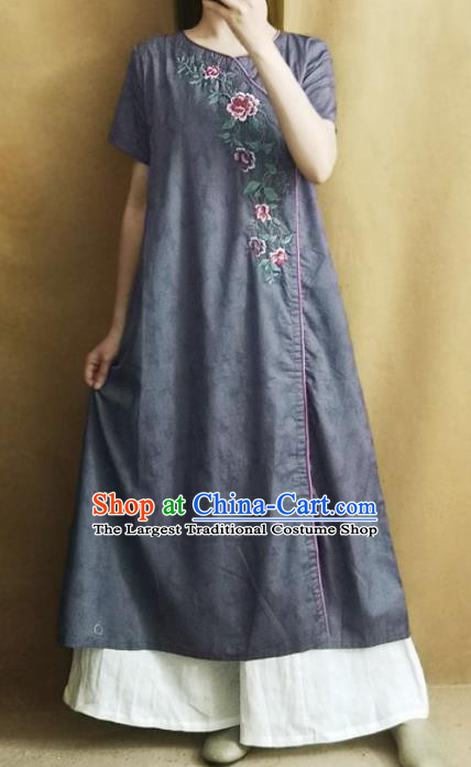 Traditional Chinese Embroidered Grey Cheongsam Qipao Dress Tang Suit National Costume for Women