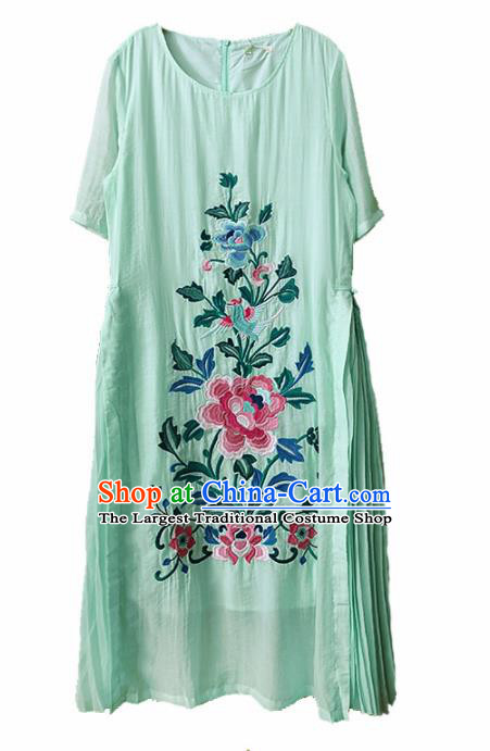 Traditional Chinese Embroidered Peony Green Rayon Cheongsam Qipao Dress Tang Suit National Costume for Women