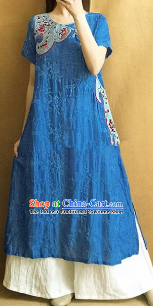 Traditional Chinese Embroidered Royalblue Linen Cheongsam Qipao Dress Tang Suit National Costume for Women