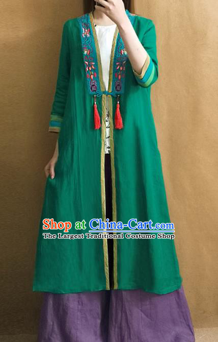 Traditional Chinese Embroidered Green Cardigan Tang Suit Coat National Costume for Women