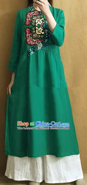 Traditional Chinese Embroidered Green Qipao Dress Tang Suit Cheongsam National Costume for Women