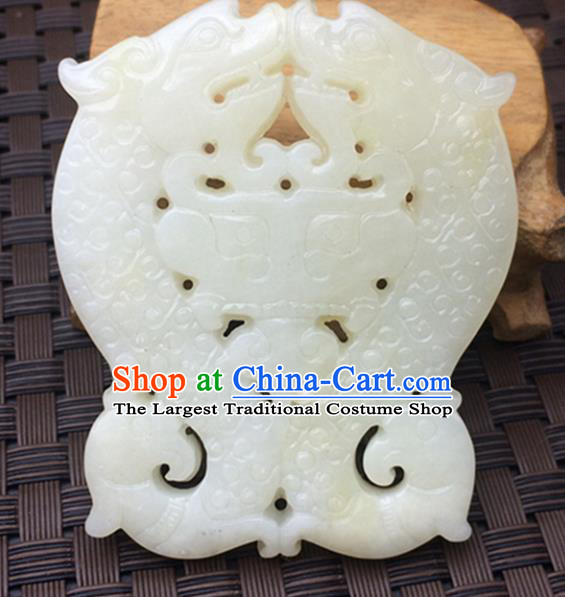 Handmade Chinese Carving Double Dragons Jade Pendant Ancient Traditional Jade Craft Decoration