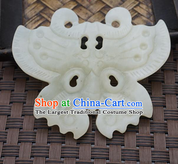 Handmade Chinese Carving Butterfly Jade Pendant Ancient Traditional Jade Craft Decoration