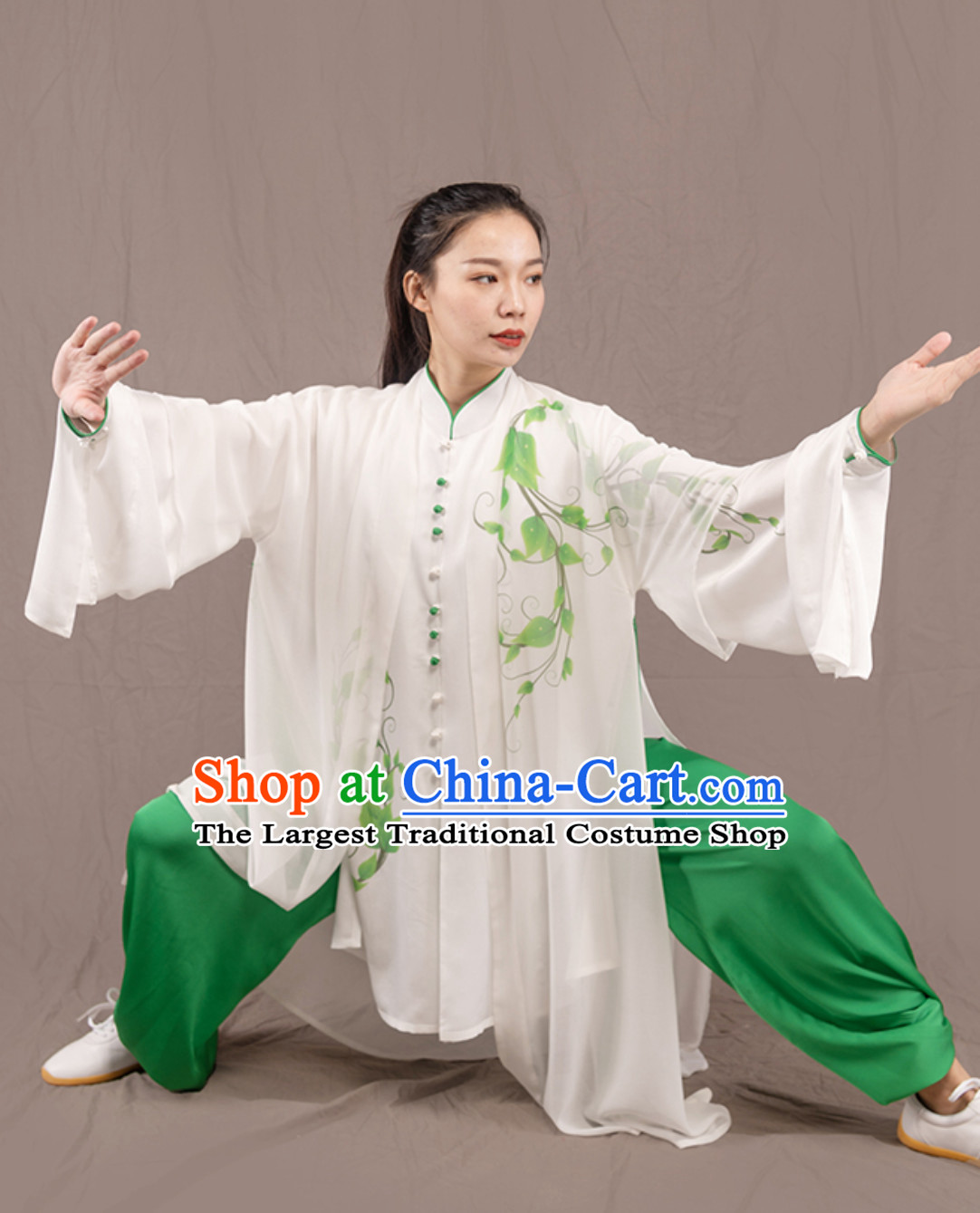 White Top Chinese Traditional Competition Championship Professional Tai Chi Uniforms Taiji Kung Fu Wing Chun Kungfu Tai Ji Sword Gong Fu Master Clothing Suits Clothes Complete Set for Women