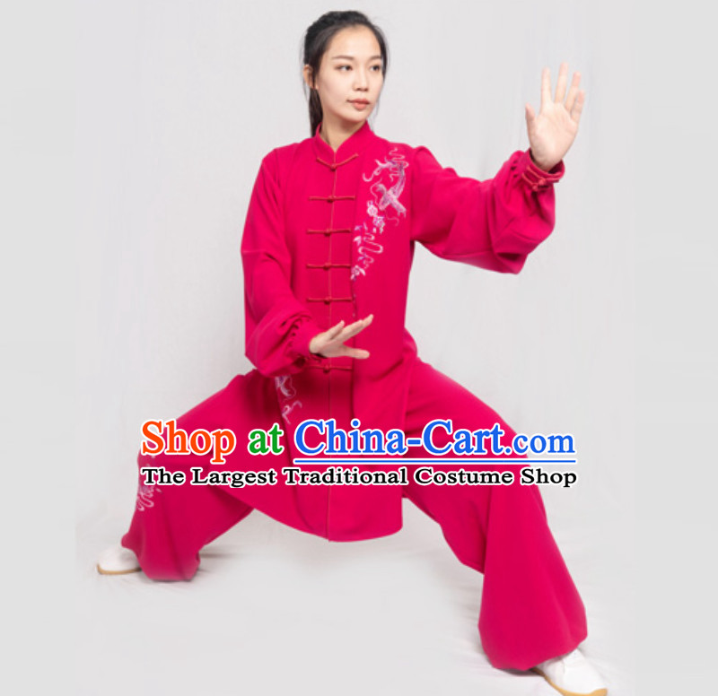 Red Carp Fish Good Meaning Blossom Chinese Traditional Competition Championship Professional Tai Chi Uniforms Taiji Kung Fu Wing Chun Kungfu Tai Ji Sword Master Clothing Suits Clothing