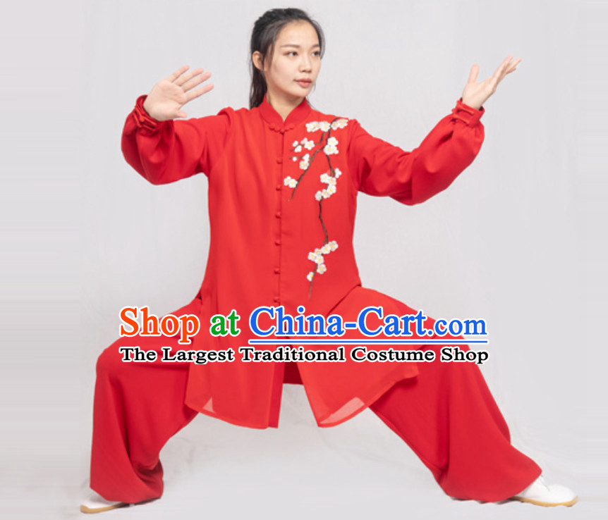 Red Embroidered Plum Blossom Chinese Traditional Competition Championship Professional Tai Chi Uniforms Taiji Kung Fu Wing Chun Kungfu Tai Ji Sword Master Clothing Suits Clothing