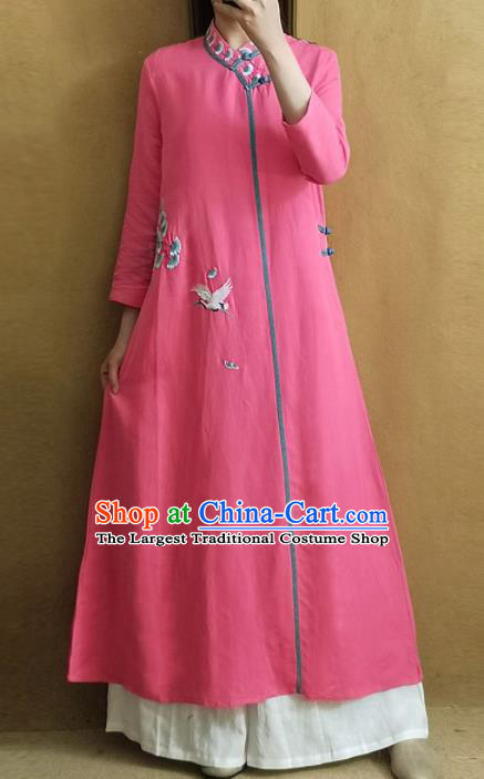 Traditional Chinese Embroidered Crane Pink Qipao Dress Tang Suit Cheongsam National Costume for Women
