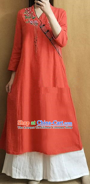 Traditional Chinese Embroidered Rose Orange Qipao Dress Tang Suit Cheongsam National Costume for Women