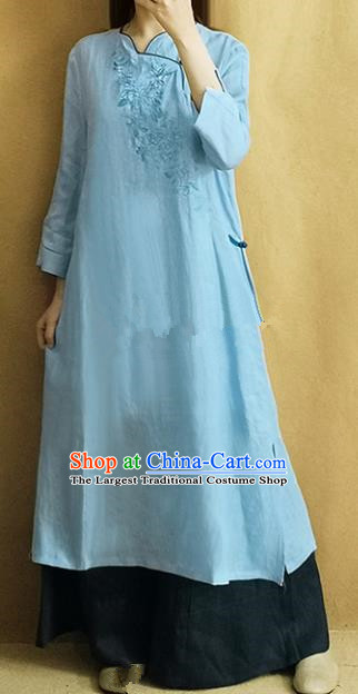 Traditional Chinese Embroidered Blue Linen Qipao Dress Tang Suit Cheongsam National Costume for Women