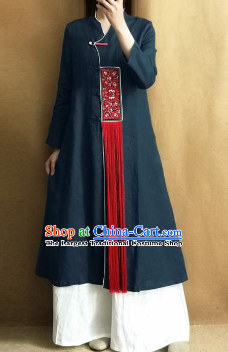 Traditional Chinese Embroidered Outer Garment Tang Suit Navy Coat National Costume for Women
