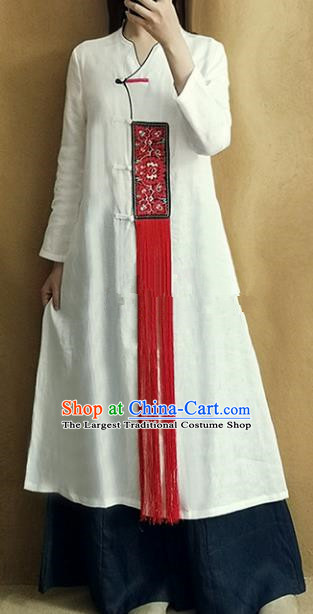 Traditional Chinese Embroidered Outer Garment Tang Suit White Coat National Costume for Women