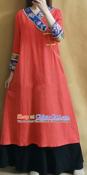 Traditional Chinese Embroidered Lotus Red Linen Qipao Dress Tang Suit Cheongsam National Costume for Women