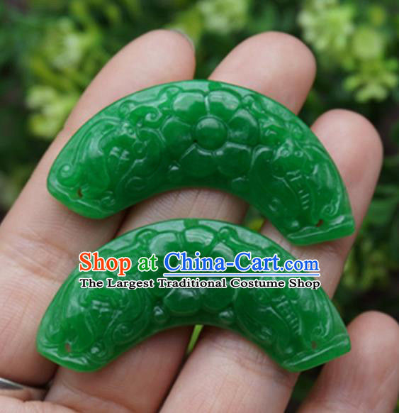 Handmade Chinese Carving Flower Green Jade Pendant Ancient Traditional Jade Craft Decoration