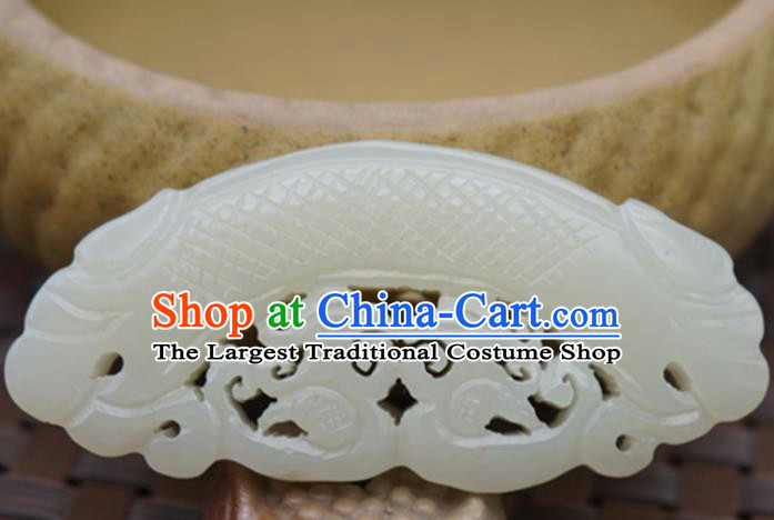 Handmade Chinese Carving Dragon White Jade Pendant Ancient Traditional Jade Craft Decoration