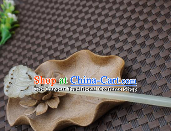 Handmade Chinese White Jade Hair Clip Ancient Palace Jade Carving Butterfly Hairpins Hair Accessories for Women for Men