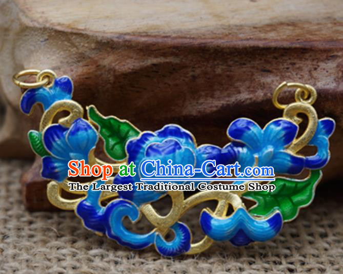 Handmade Chinese Blueing Flowers Necklace Pendant Ancient Palace Hairpins Jewelry Accessories for Women