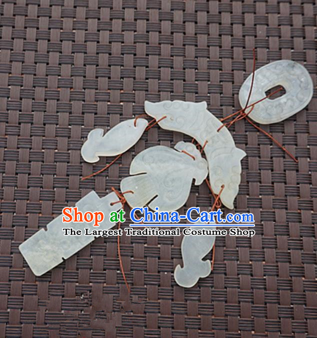 Handmade Chinese Carving Jade Waist Pendant Ancient Traditional Jade Craft Decoration