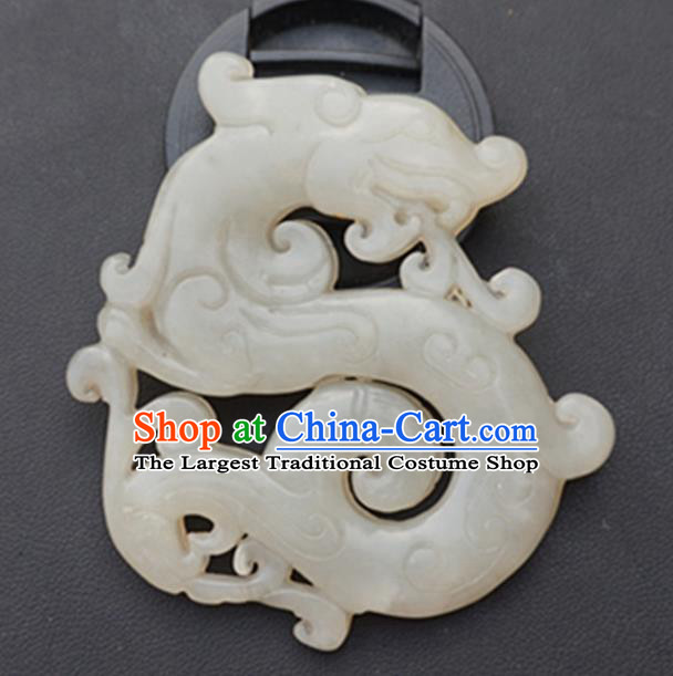 Handmade Chinese Carving Dragon Jade Waist Pendant Ancient Traditional Jade Craft Decoration