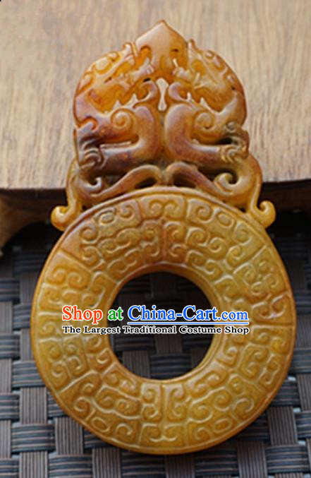 Handmade Chinese Carving Dragon Yellow Jade Waist Pendant Ancient Traditional Jade Craft Decoration