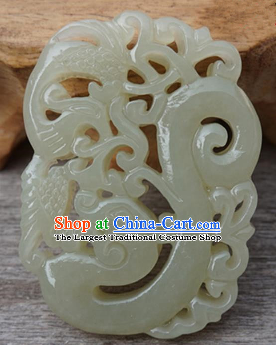 Handmade Chinese Carving Dragon Phoenix Jade Waist Pendant Ancient Traditional Jade Craft Decoration