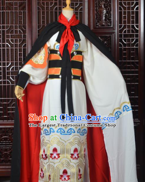 Handmade Chinese Beijing Opera General Costume Peking Opera Military Officer White Clothing for Men