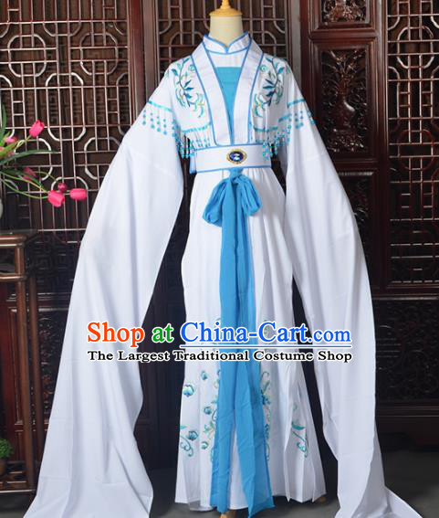 Handmade Chinese Beijing Opera White Costume Peking Opera Actress Dress for Women
