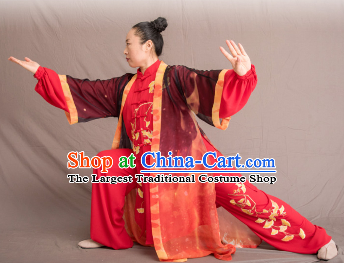 Lucky Red Top Chinese Classical Competition Championship Professional Tai Chi Uniforms Taiji Kung Fu Wing Chun Kungfu Tai Ji Sword Master Dress Clothing Suits Clothing Clothes Complete Set