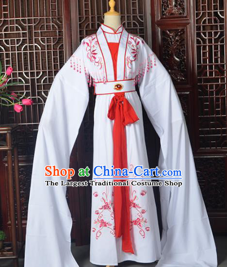 Handmade Chinese Beijing Opera Diva Costume Peking Opera Actress White Dress for Women