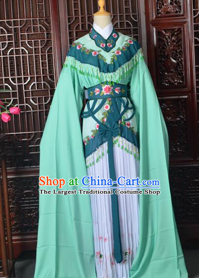 Handmade Chinese Beijing Opera Diva Costume Peking Opera Actress Green Dress for Women