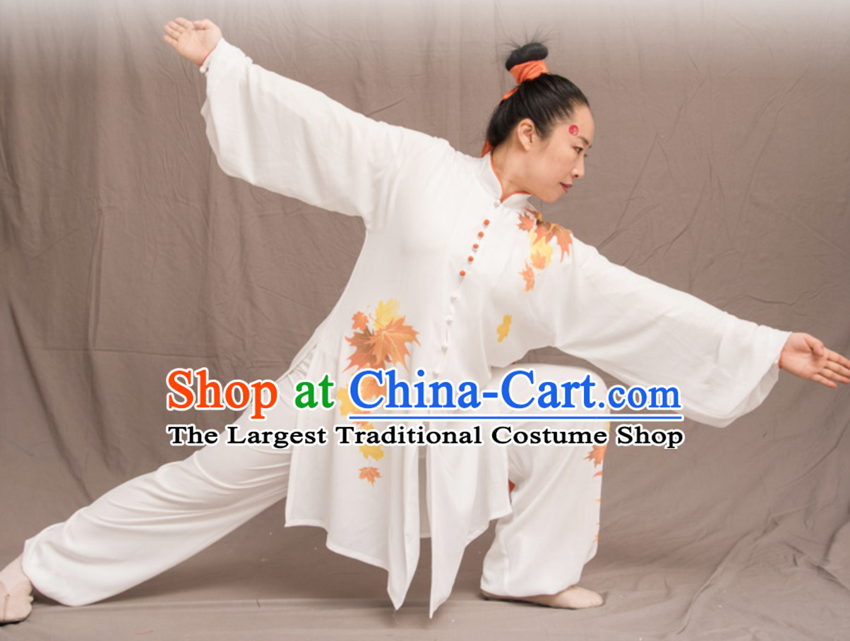 White Top Chinese Classical Competition Championship Professional Tai Chi Uniforms Taiji Kung Fu Wing Chun Kungfu Tai Ji Sword Master Dress Clothing Suits Clothing Clothes Complete Set