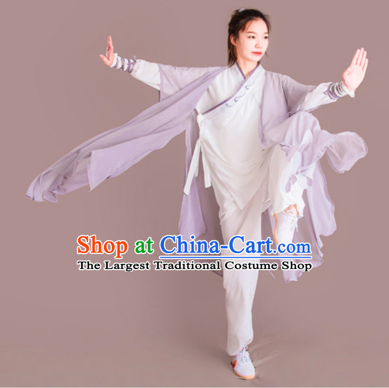 Top Chinese Classical Competition Championship Professional Tai Chi Uniforms Clothing and Mantle Complete Set for Women or Men