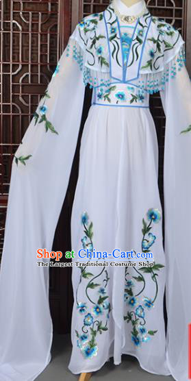 Handmade Chinese Beijing Opera Princess Costume Peking Opera Actress Embroidered White Dress for Women