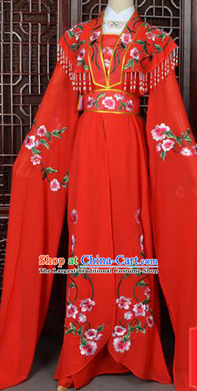 Handmade Chinese Beijing Opera Princess Costume Peking Opera Actress Embroidered Red Dress for Women