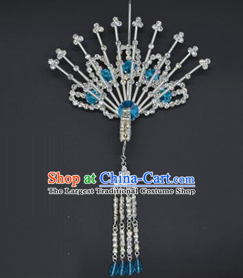 Chinese Handmade Beijing Opera Blue Crystal Phoenix Hairpins Traditional Ancient Princess Hair Accessories for Women