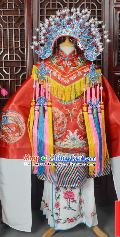 Handmade Chinese Beijing Opera Queen Red Costume Peking Opera Actress Embroidered Dress for Women