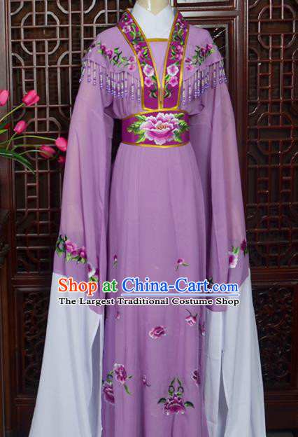 Handmade Chinese Beijing Opera Actress Embroidered Purple Dress Peking Opera Princess Costume for Women