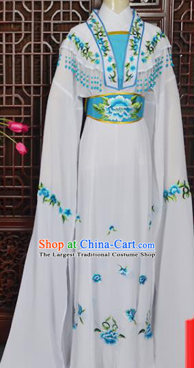 Handmade Chinese Beijing Opera Actress Embroidered White Dress Peking Opera Princess Costume for Women