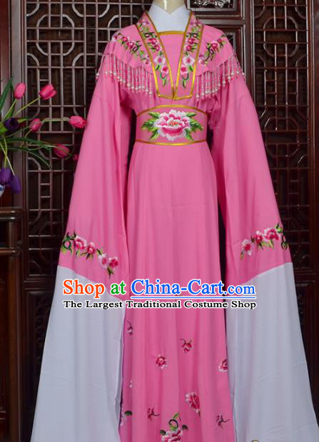 Handmade Chinese Beijing Opera Actress Embroidered Pink Dress Peking Opera Princess Costume for Women