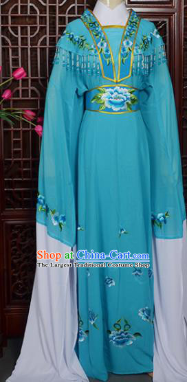 Handmade Chinese Beijing Opera Actress Embroidered Blue Dress Peking Opera Princess Costume for Women
