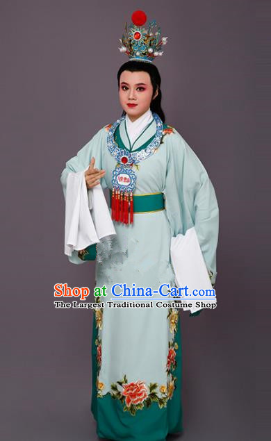 Handmade Chinese Beijing Opera Niche Green Costume Traditional Peking Opera Nobility Childe Clothing for Men